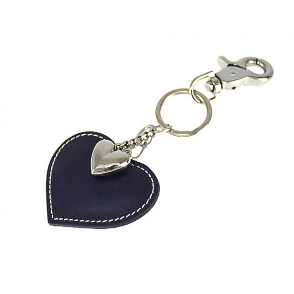 Kožená kľúčenka srdce tmavomodrá Modrá