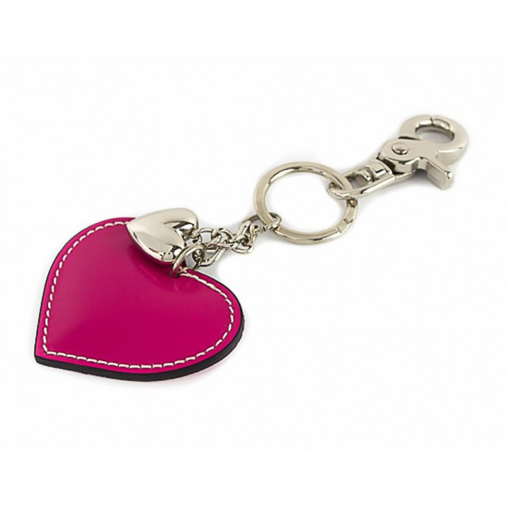 Leather key chains heart fuxia