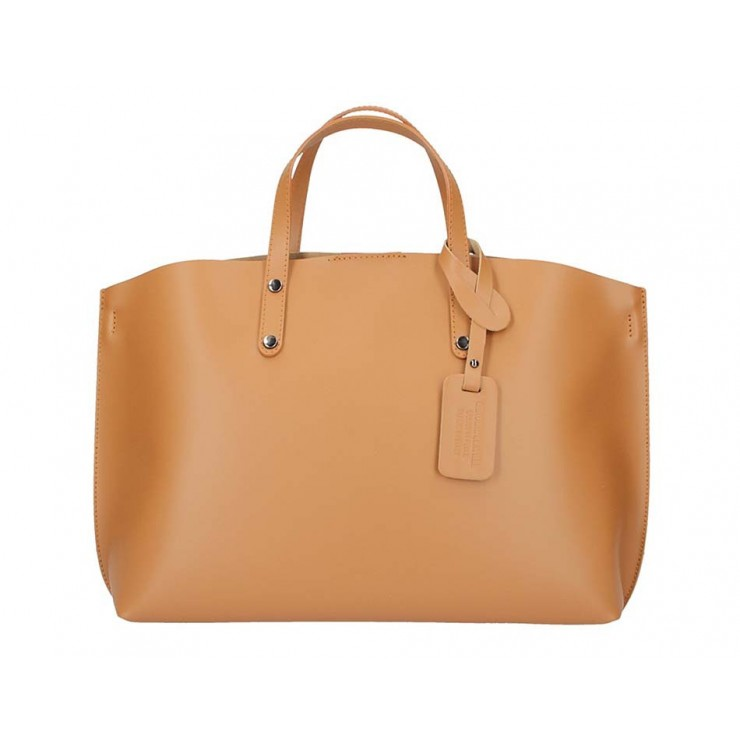 Genuine Leather Handbag 5304 cognac