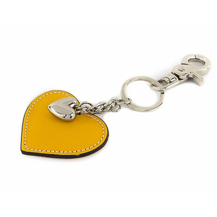 Kožená kľúčenka srdce žltá