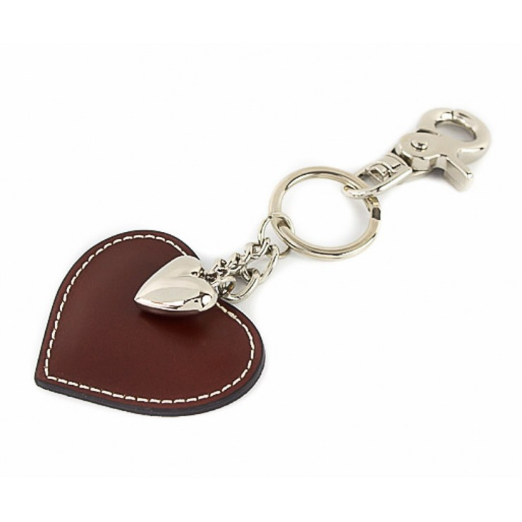 Leather key chains heart brown