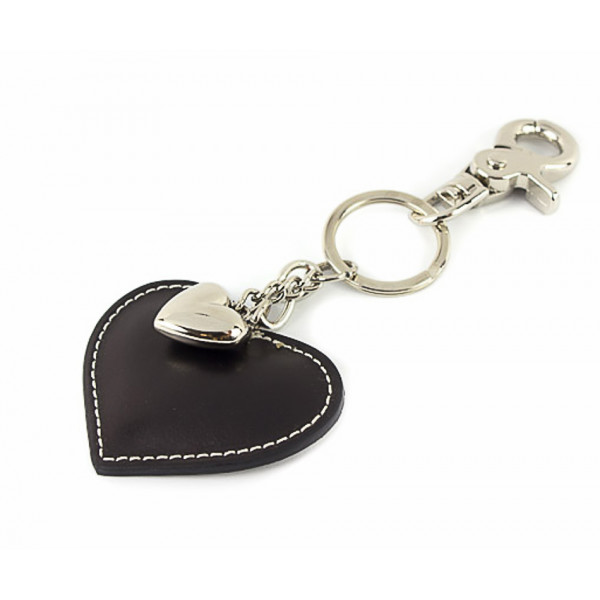 Kožená kľúčenka srdce čierna Čierna