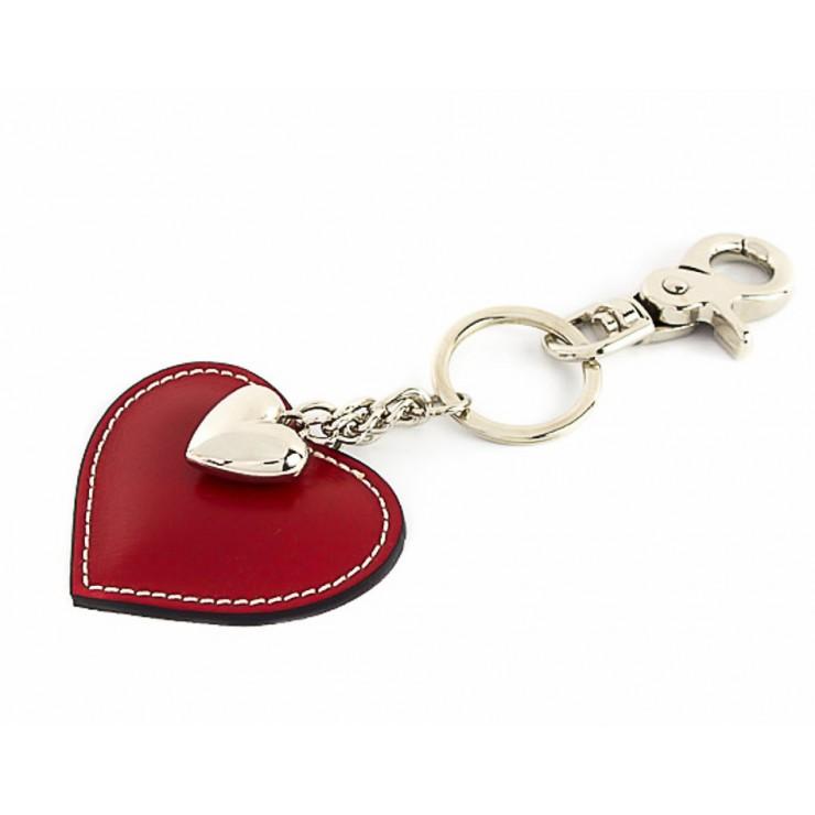 Kožená klíčenka srdce rudá