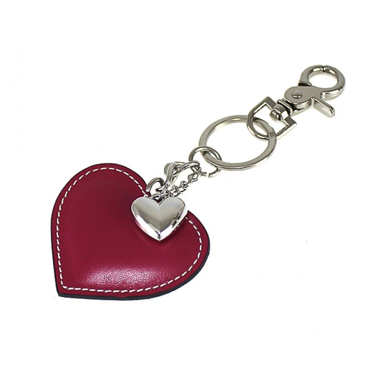 Leather key chains heart dark red