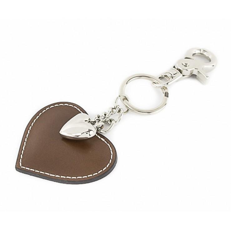 Kožená kľúčenka srdce šedohnedá