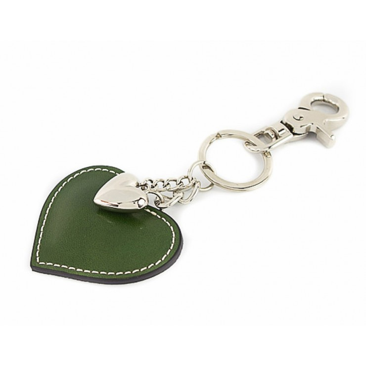 Leather key chains heart green