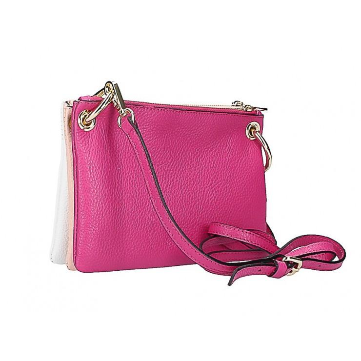Kožená kabelka na rameno 1487 fuchsia/ružová/biela