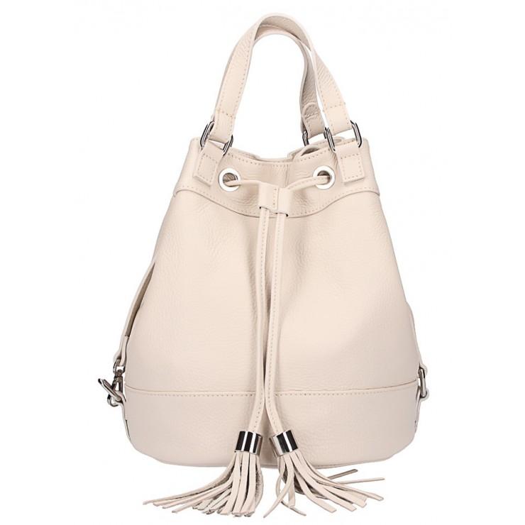 Béžová kožená kabelka 338