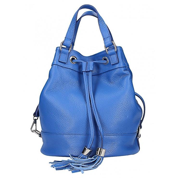 Azurovo modrá kožená kabelka 338