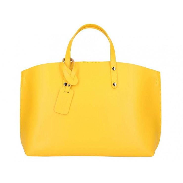 Žltá kožená kabelka do ruky 5304