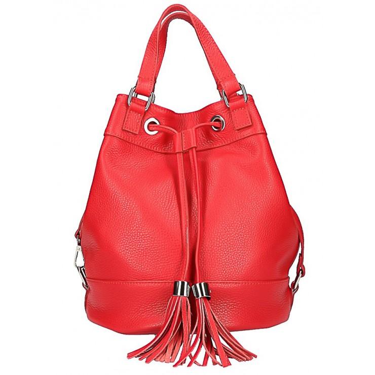 Červená kožená kabelka 338