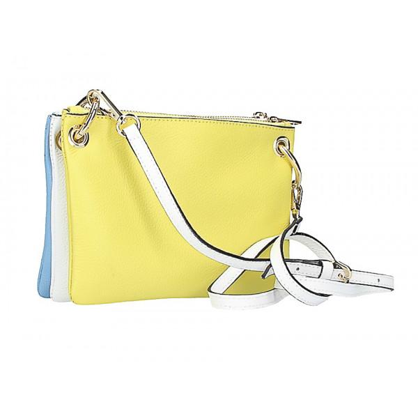 Kožená kabelka na rameno 1487 žltá/nebesky modrá/biela