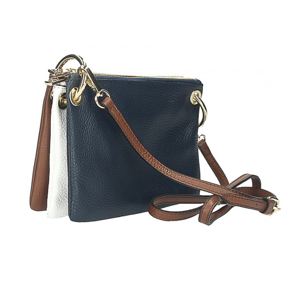 70cc5bdfa0 Kožená kabelka na rameno 1487 tmavomodrá biela hnedá - MONDO ITALIA ...