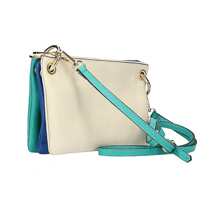 Kožená kabelka na rameno 1487 béžová/modrá/tyrkysová