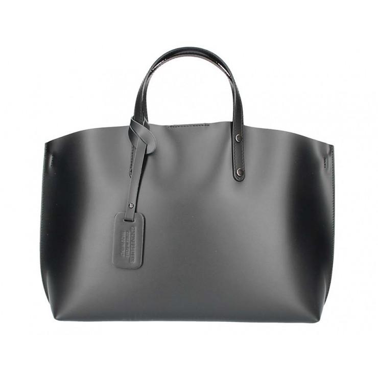Černá kožená kabelka do ruky 5304