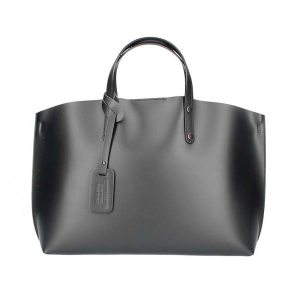 Čierna kožená kabelka do ruky 5304