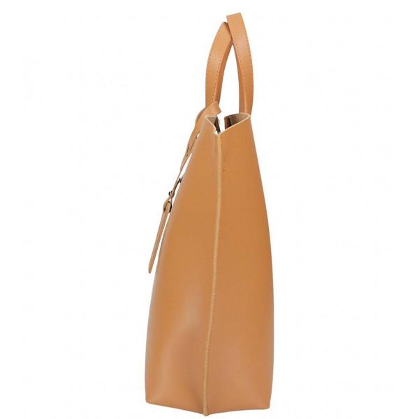 Čierna kožená kabelka do ruky 1417 MADE IN ITALY Čierna