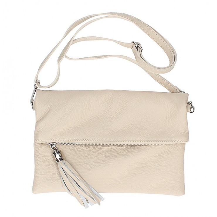 Genuine Leather Handbag 16003 beige