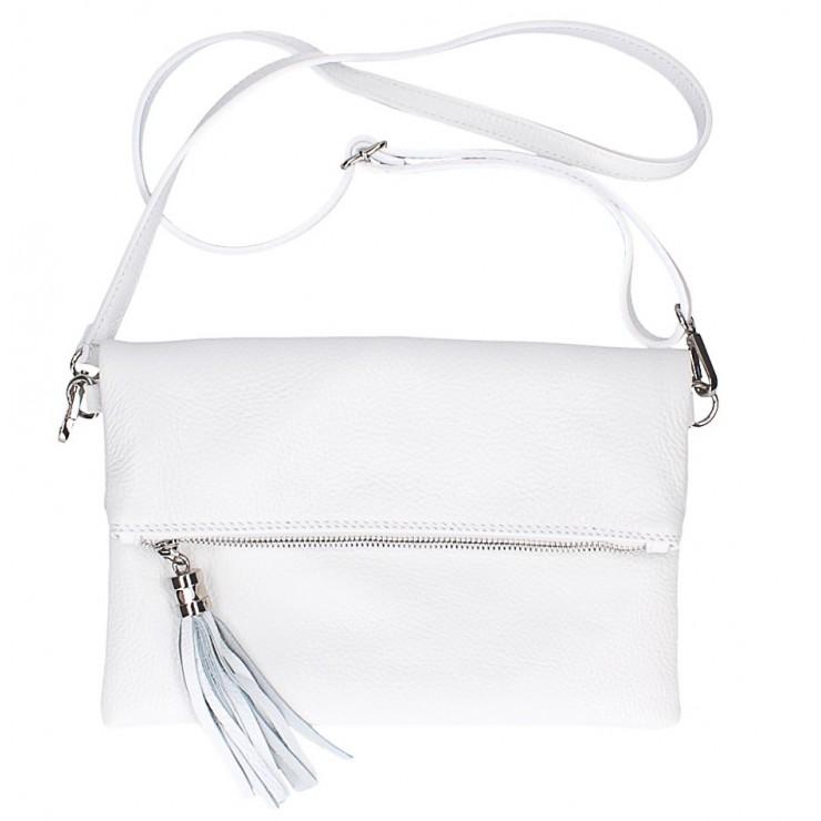 Kožená kabelka 16003 biela