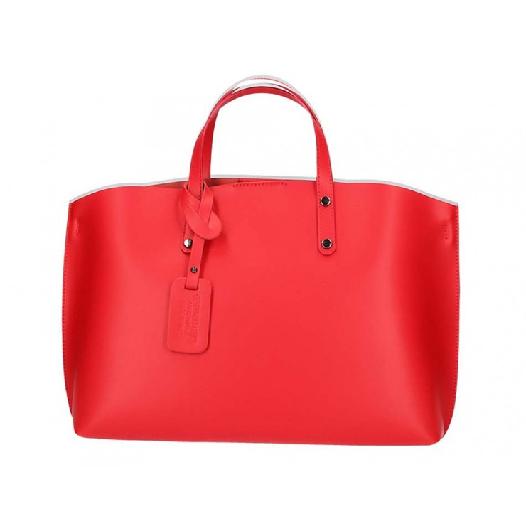 Červená kožená kabelka do ruky 5304