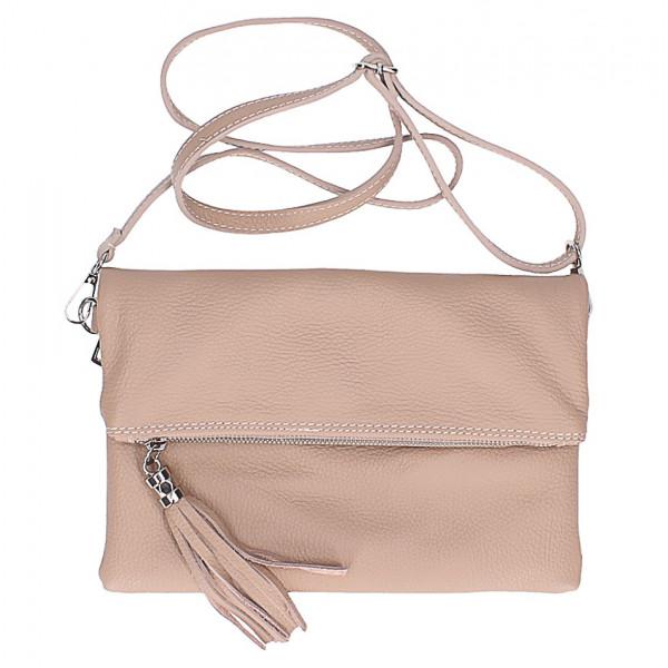 5d5aff9b54 Kožená kabelka 16003 pudrová ružová - MONDO ITALIA s.r.o.