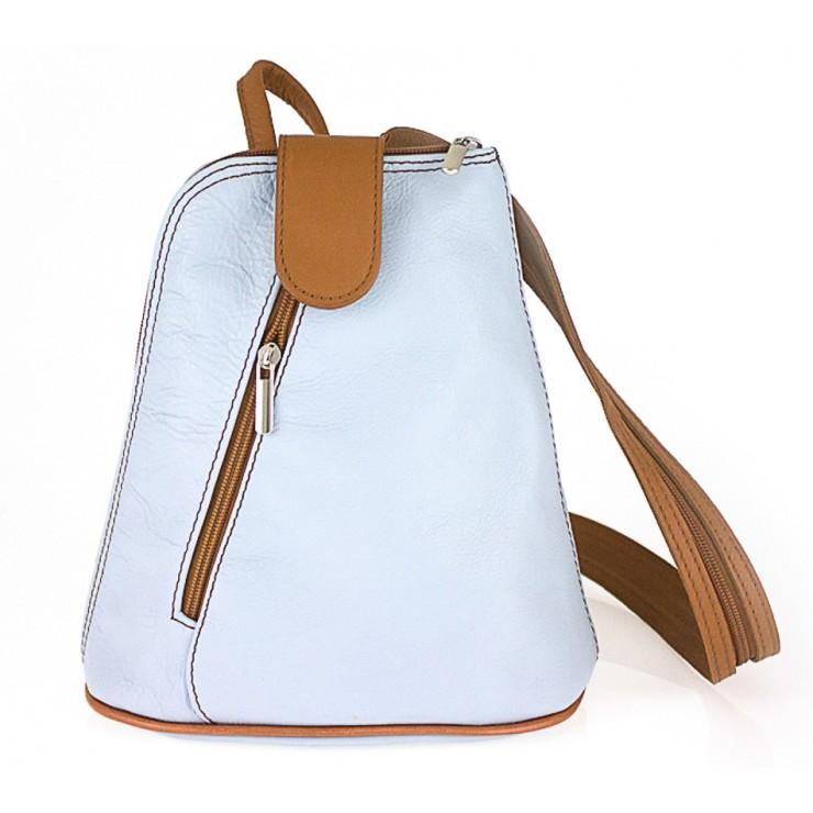 Kožený batoh 1083 nebesky modrý + koňakový