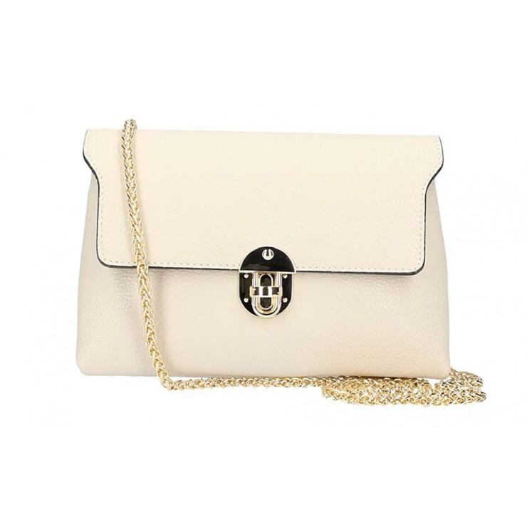 Béžová kožená kabelka na rameno 5306