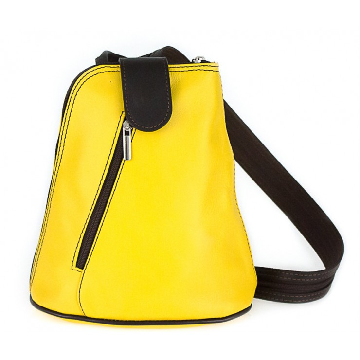 Kožený batoh 1083 žltý + tmavohnedý