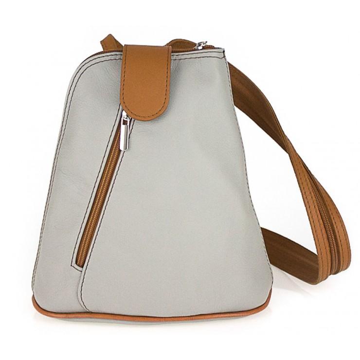 Kožený batoh 1083 šedý + koňakový
