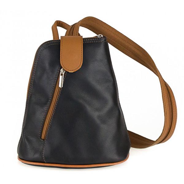 Kožený batoh 1083 čierny + koňakový