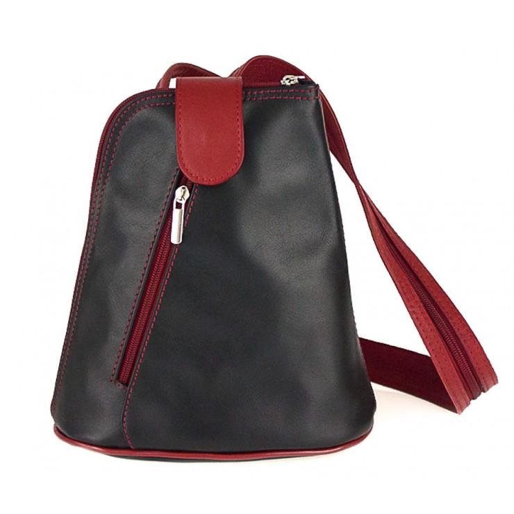 Kožený batoh 1083 čierny + červený Made in Italy
