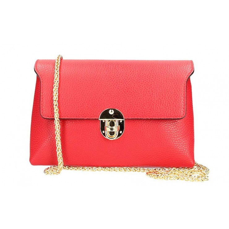 Červená kožená kabelka na rameno 5306