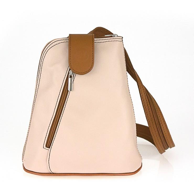 Kožený batoh 1083 ružový + koňakový