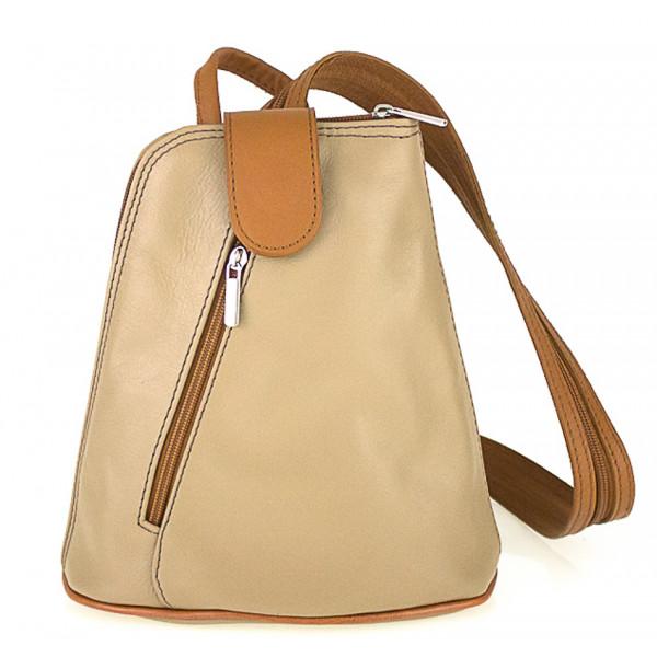 Kožený batoh 1083 šedohnedý + koňakový