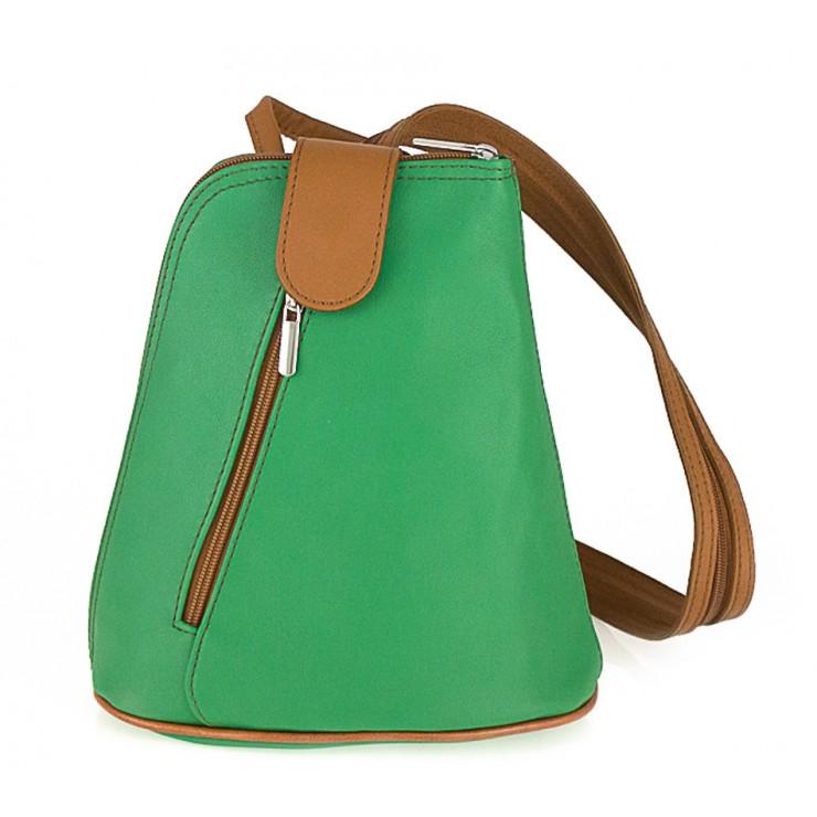 Kožený batoh 1083 zelený + koňakový