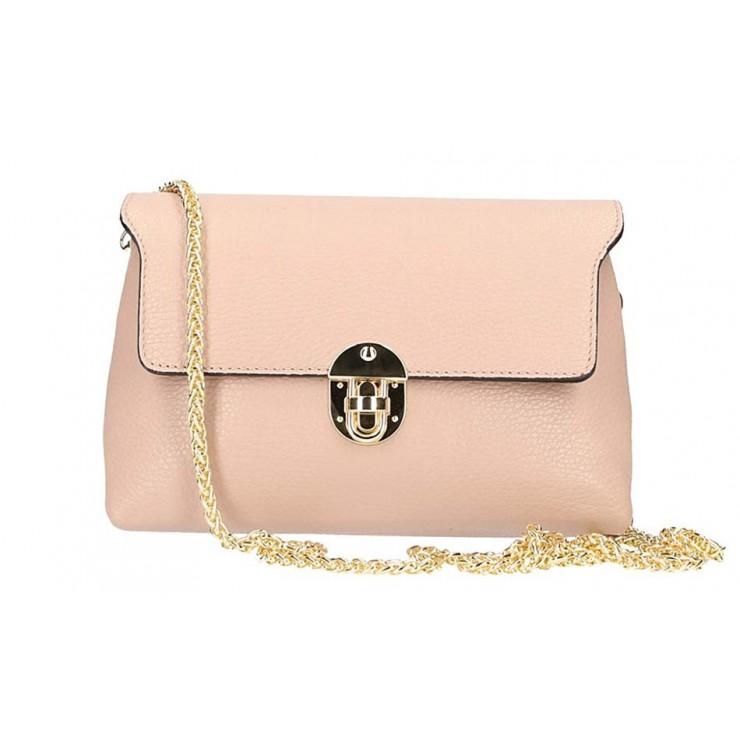 Ružová kožená kabelka na rameno 5306