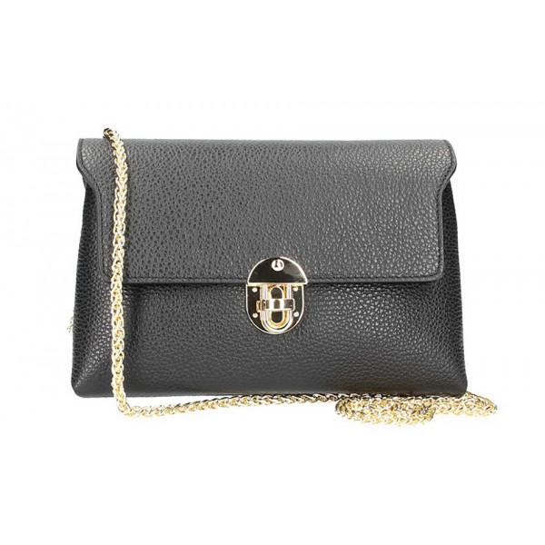 Čierna kožená kabelka na rameno 5306
