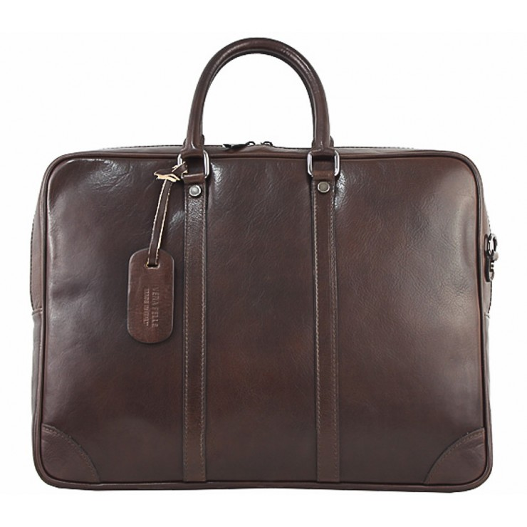 Leather Messenger Bag 380 dark brown