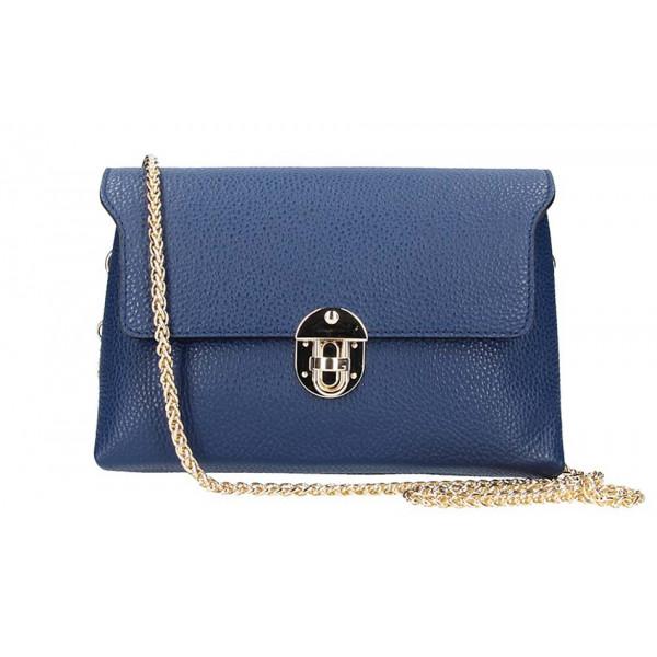 Modrá kožená kabelka na rameno 5306