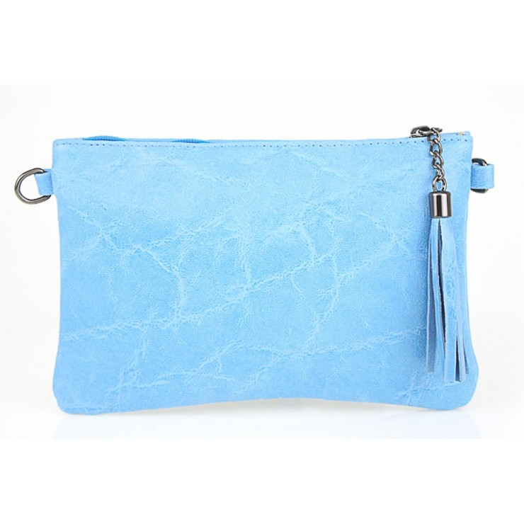 Genuine Leather Handbag 750 light blue