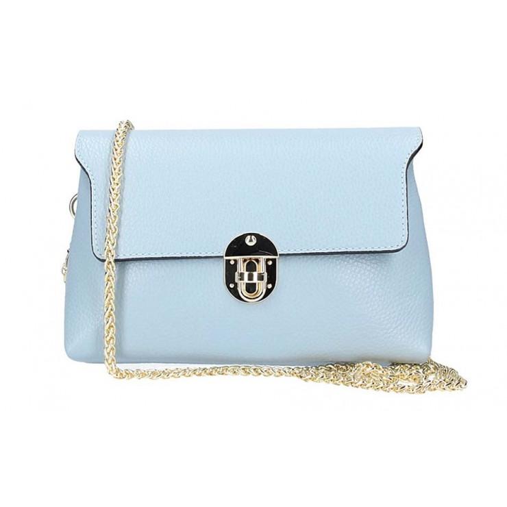 Nebesky modrá kožená kabelka na rameno 5306