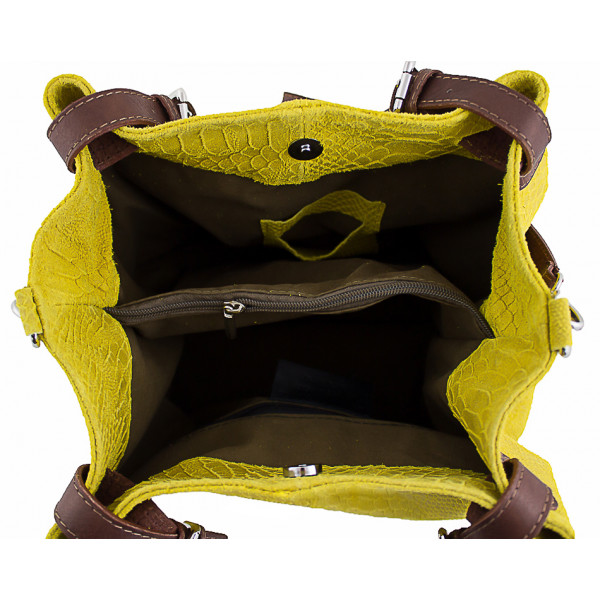 Kožená kabelka potlač pytón 35 modrá