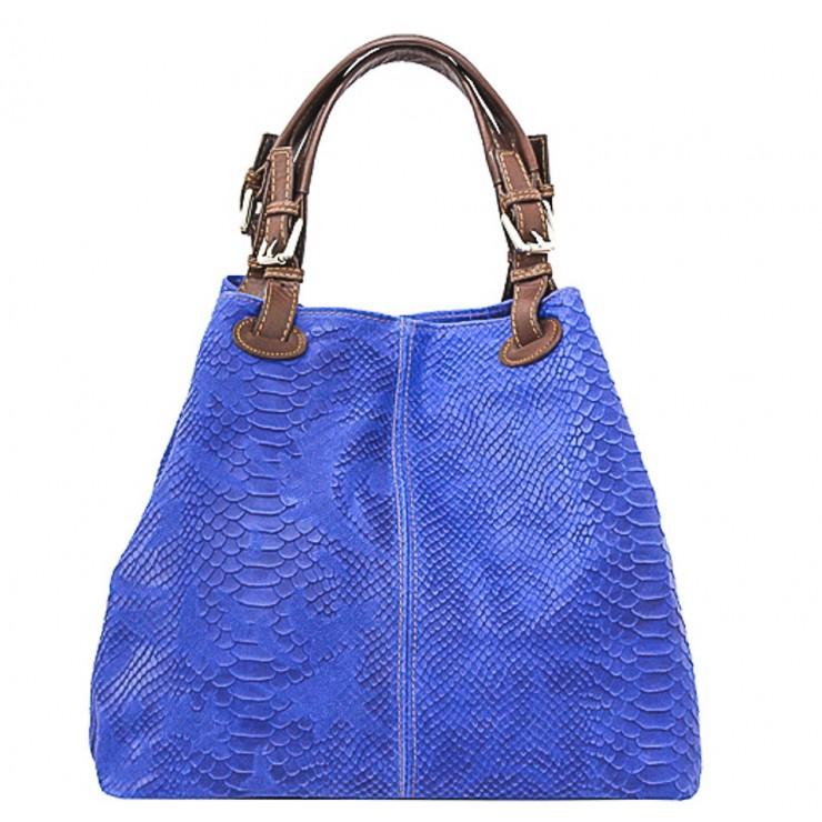 Kožená kabelka potlač pytón 35 azurovo modrá
