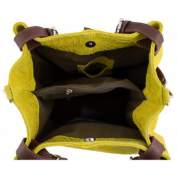 Kožená kabelka potlač pytón 35 žltá