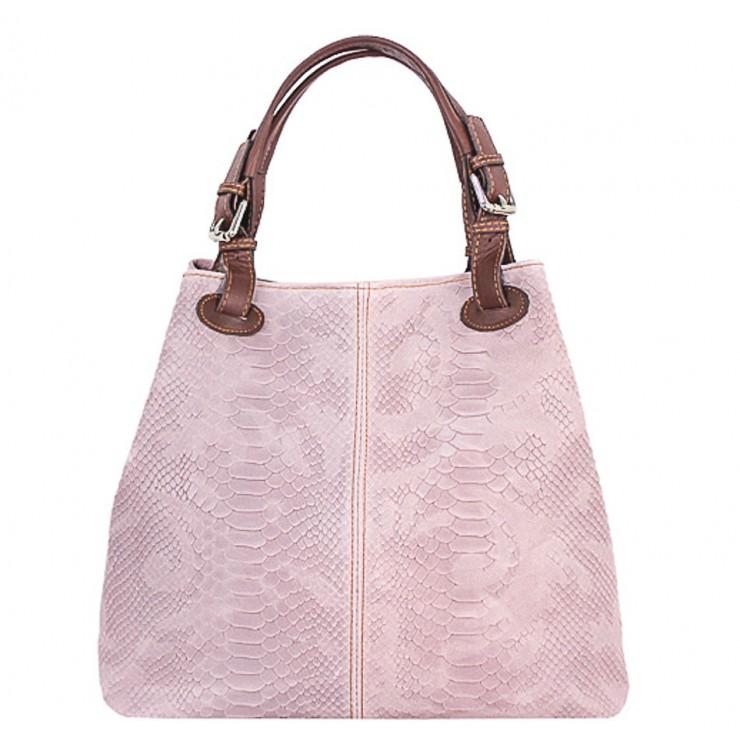 Kožená kabelka potlač pytón 35 ružová