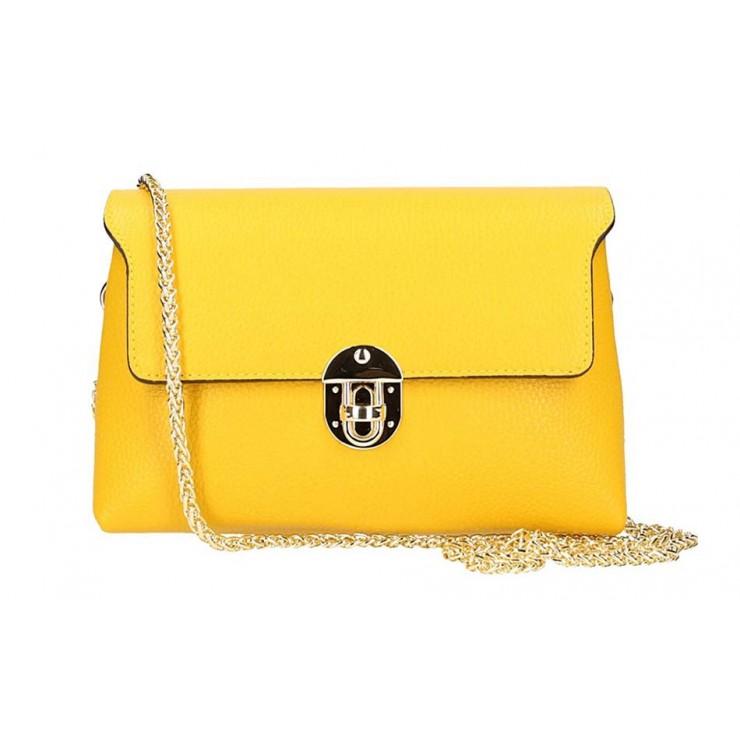 Žltá kožená kabelka na rameno 5306
