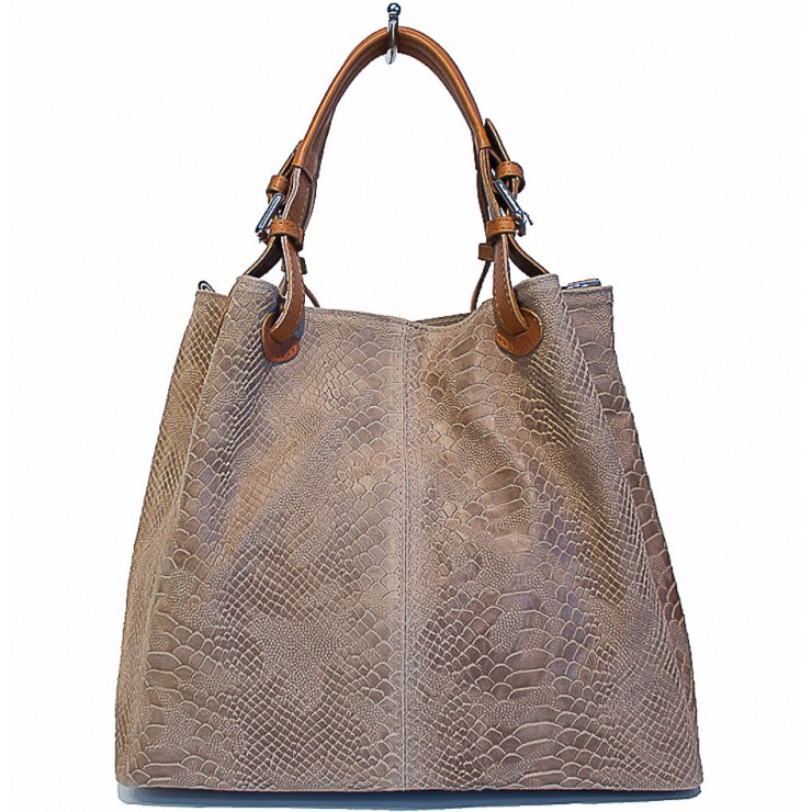 Genuine Leather Handbag Python stamp 35 taupe