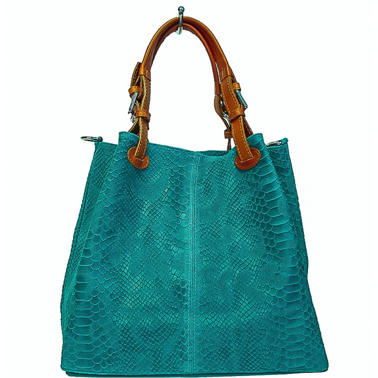 Genuine Leather Handbag Python stamp 35 turquoise
