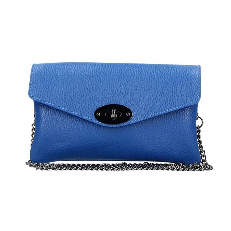 Azurovo modrá kožená kabelka na rameno 515