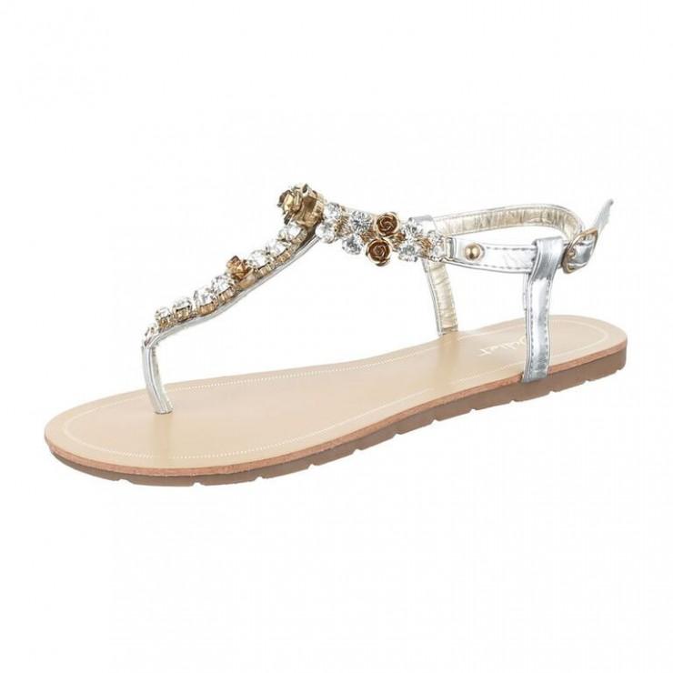 Sandále s kamienkami Juliet strieborné